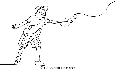 Continuous one line kid catch the ball in glove, Baseball theme
