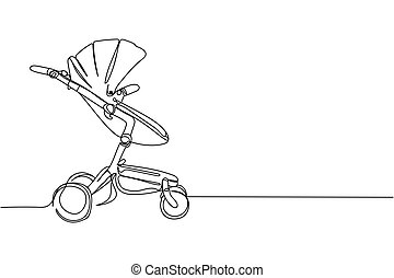 Continuous one line of baby carriage in silhouette on a white background. Linear stylized.Minimalist.