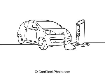 Continuous one line of electric car in charging station in silhouette on a white background. Linear stylized.Minimalist.