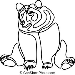 Continuous one line Sitting bear. Vector illustration.