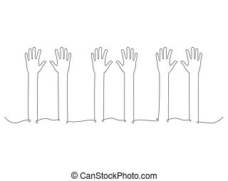 Continuous people hands up line