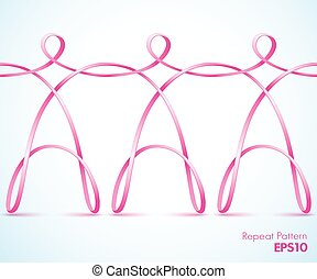Continuous pink ribbon figures - Continuous pink female...