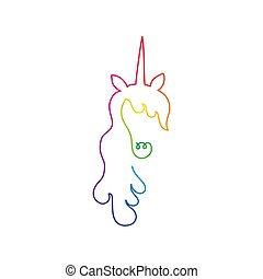 Continuous rainbow line art of unicorn head