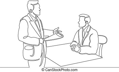 Continuous single drawn line of lawyer in court, speech before the jury.