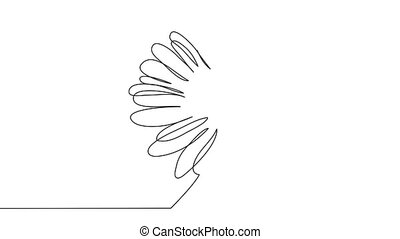 continuous single drawn one line chamomile flower hand-drawn picture silhouette. Line art.