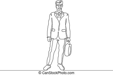 Continuous single drawn one line lawyer with briefcase