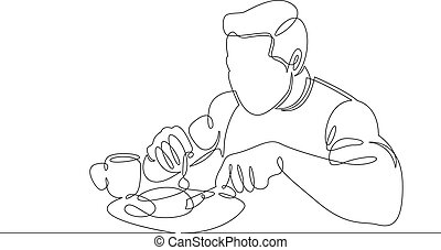 Continuous single line one morning, breakfast, meal character at the table. Coffee, fried eggs, tea, toast, juice.The guy is a man who has breakfast and drinks coffee. Athletic and healthy lifestyle.