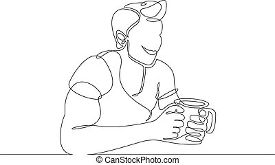 Continuous single line one morning, breakfast, meal character at the table. Coffee, fried eggs, tea, toast, juice. The guy is a man who has breakfast and drinks coffee. Athletic and healthy lifestyle.
