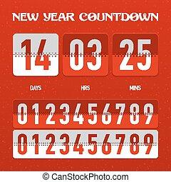 conto alla rovescia, nuovo, timer, anno