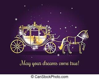 conto, carruagem, fada, cavalo