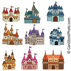 conto, castelo, ícone, fada, caricatura