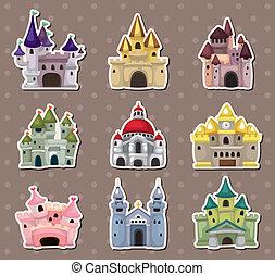 conto, castelo, adesivos, fada, caricatura