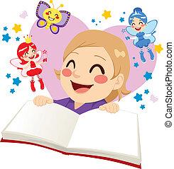 conto, cute, leitura menina, fada