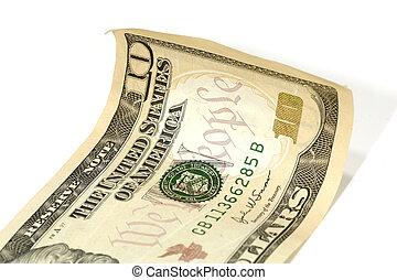 conto, dollaro, dieci