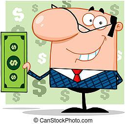 conto, dollaro, presa a terra, uomo affari