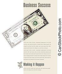 conto, dollaro, successo, affari, annuncio