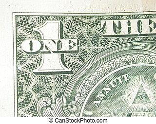 conto, dollaro, uno