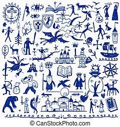 conto, doodles, fada, história
