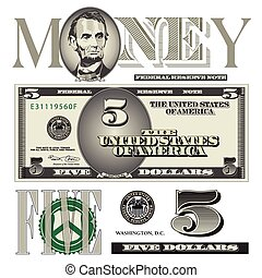 conto, elementi, dollaro, cinque