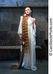 conto, muito, cabelo longo, bonito, fada, menina