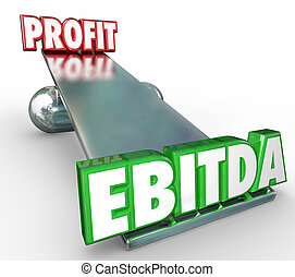 conto, scala, lettere, profitto, vs, parole, bilancio pesa, ebitda, 3d