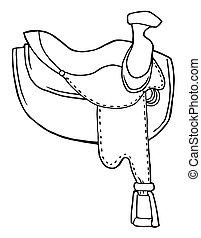contorneado, caballo, silla de montar