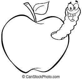 contorneado, feliz, manzana, gusano