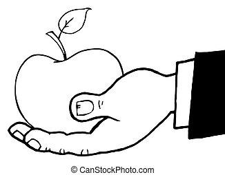 contorneado, manzana roja, llevar a cabo la mano