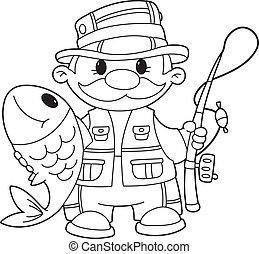 contorneado, pescador