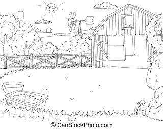 contorno, apariencia de la granja, libro, negro, blanco, caricatura