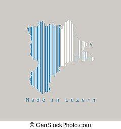 contorno, apariencia el plano de fondo, alfalfa, mapa, conjunto, gris, text:, bandera, barcode, hecho, luzern., forma