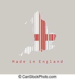 contorno, apariencia el plano de fondo, england., mapa, conjunto, gris, text:, bandera, barcode, inglaterra, hecho, forma