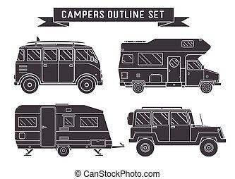 contorno, auto, campeggiatori, icons., automobili, viaggiare