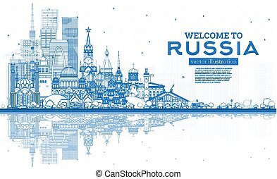 contorno, azul, rusia, bienvenida, edificios., contorno