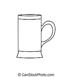 contorno, birra, fondo, bianco, isolato, vuoto, tazza