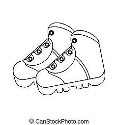 contorno, botas, shoes, equipo, aventura, campamento