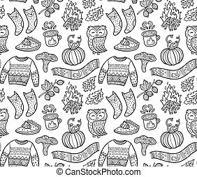 contorno, calabaza, seamless, búho, pulóver, otoño, plano de...