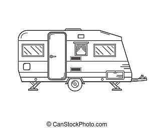contorno, campeggio, roulotte, icona
