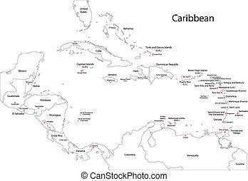 contorno, caraibico, mappa