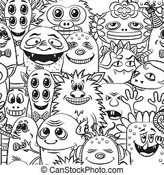 contorno, caricatura, seamless, monstruos