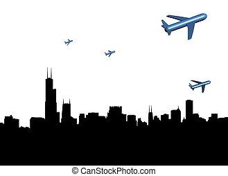 contorno, chicago, aviones, partir