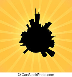 contorno, circular, sunburst, chicago