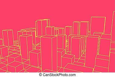 contorno, city., resumen, town., industrial, paisaje, vector, ilustración