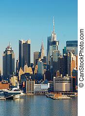 contorno, ciudad, york, urbano, nuevo