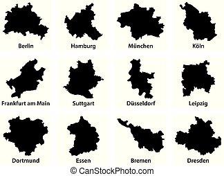 contorno, ciudades, 12, mapas, más, negro, alemania, ...