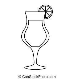 contorno, cocktail, tazza, alcolico, vetro, bevanda