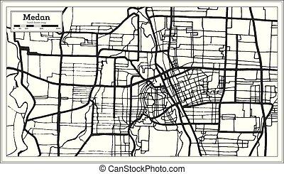 contorno, color., blanco, ciudad, indonesia, map., medan, ...