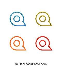 contorno, colorito, poly, q, vettore, basso, lettera, sagoma