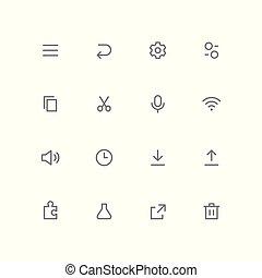 contorno, conjunto, negrita, 04, icono
