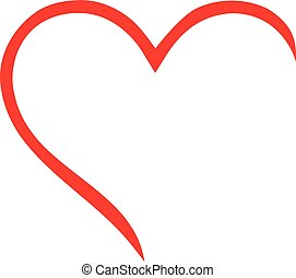 contorno, corazón, mitad